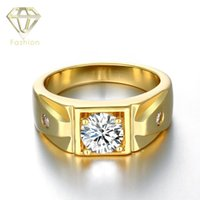 Barato Anéis De Diamante De Ouro 24k-24K / Rose / White Gold Plated Ring para homens, com 2pcs Side Stones Round Brilliant Cut CZ Diamond Ring