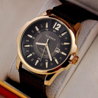 Wholesale Water Curren - 2018 Hot sale Casual Luxury brand Curren 8123 Fashion leather strap Men's Watches Sports Quartz Wristwatches Christmas gift
