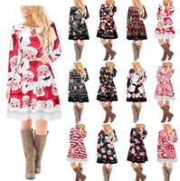 Wholesale women winter flower skirt - 15 design Christmas Long Sleeves Woman Girls Dress Deer Snowman Flower Printed Skirt Elegant for Party Dresses KKA3560