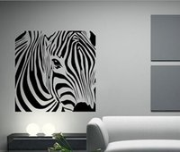 ingrosso adesivi zebra per pareti-Lovely Zebra Animal Vinyl Wall Sticker Adesivo Murale Poster Vintage Art Stickers Home Decor Dimensioni spedizione gratuita 58x58cm
