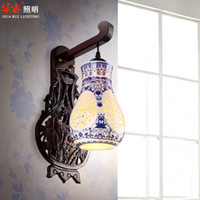 Wholesale Porcelain Blue Lamps - Antique Engrave Wall Lamp Ceramics Chinese Royal Court Style Wall Sconces Restaurant Blue And White Porcelain Bedroom Tea Room
