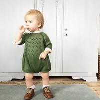 ingrosso maglioni neonato neonato-Baby Spring Autumn Knitted Pagliaccetti Abbigliamento neonato ragazza ragazzo neonato pullover maglione rosa verde manica lunga tre quarti pagliaccetti manica