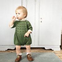 üç mevsim örme süveter kılıfı toptan satış-Bebek Bahar Sonbahar Örme Tulum Giysi Bebek kız erkek Yenidoğan Kazak Kazak pembe yeşil Uzun Kollu üç çeyrek kollu tulum