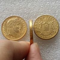 Wholesale Gold Plating Home - FRANCE 1864B Made Of Brass-Plated Gold NAPOLEON 20 FRANCS BEAUTIFUL Copy Coin Ornaments replica coins home decoration accessories