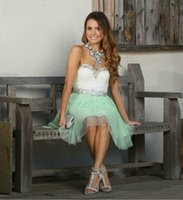 Wholesale Back Light Sheet - Vestidos De Festa Homecoming Dresses with Crystal Beaded Prom Party Gowns A Line Back Hollow Sheet tulle Light Green Cocktail Gowns