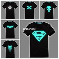 Wholesale El Glow T Shirt - 1215 Free Shipping Fashion reflece light t-shirt Superman tshirt iron man shirt men glow in dark fluorescent shirt luminous in night