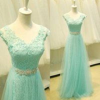 Wholesale Mint Chiffon Maternity Dress - 2015 Mint Prom Dresses Spring Party Evening Gowns A Line V Neck Sheer Cap Sleeves Beads Sash Floor Length Tulle Lace Up Back