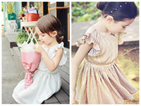 Wholesale korean children party dress - new 2016 Summer girls kids fly sleeve solid golden silver dress with high quality korean children party dress free shipping in stock