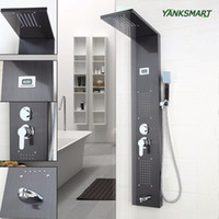 Wholesale Hand Paint Mixer - YANKSMART UK Shower Panel Column Screen Black Painting Digital Stainless Steel Bathroom Faucet Mixer tap with hand sprayer