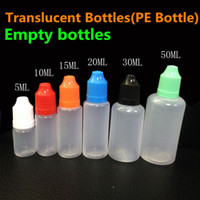Wholesale E Bottle Needle - E Liquid bottles E-Cigarette PE Needle Tips Plastic Dropper Bottle 5ml 10ml 15ml 20ml 30ml 50ml Child Proof Caps Empty E-Liquid Oil Bottles