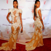 Wholesale Kim Kardashian Dress Designer - Charming Designer Arabic High Neck Lace Appliques Sheath Sexy Vestido De Festa See Through kim kardashian Evening Celebrity Dresses 2015
