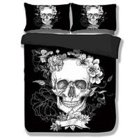 ingrosso skull bedding-Zucchero Skull Copripiumino Imposta 3D in bianco e nero Set copripiumino Plaid Copripiumini per Twin Full Queen King Size Bed Federa