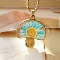 Wholesale Mushroom Beads Wholesale - Charming Bronzed Mushroom Pendant Necklaces Dried Real Fun Turquoise Daisy Flower Necklaces Vintage Long Bronze Round Beads Chains nxl043