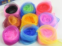 Wholesale Cheap Children Scarfs - cheap wholesale Gradient Sweet Color small Children silk Square Candy Color Scarf gauze Kids Multicolor 60cm