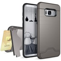 Wholesale Galaxy Pocket Back Case - Shockproof Card Slot Case For Samsung Galaxy S8 S8 Plus S7 Edge Cover Hard Back Silicone Bumper Dual Layer Hybrid Defender With Kickstand