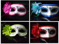 Wholesale Catwalk Dresses Wholesale - 2015 new halloween props lateral flowers mask mix masquerade ball catwalk princess dress brought flowers party masks half face masks