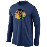 Wholesale Big Tall Men Shirts - Cheap Chicago Blackhawks Hockey Long Sleeve T Shirts Big&Tall Logo Fashion Blackhawks Hockey Tees Shirt Cotton O-Neck T-shirt