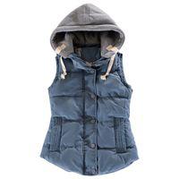Wholesale Hooded Outerwear Vest - M-4XL Plus Size Women Vest 2015 Autumn Winter Fashion Waistcoat Hooded Thick Warm Cotton Padded Jacket Outerwear Colete Feminino