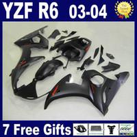 kit de carenado r6 negro mate al por mayor-Kit de carenado negro mate para 2003 2004 carenados YAMAHA R6 03 04 piezas de carenado del kit de carenado YZF R6