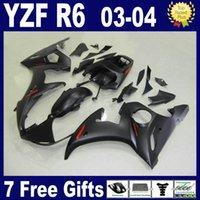 yamaha r6 teile großhandel-Mattschwarzes Verkleidungsset für 2003 2004 YAMAHA R6 Verkleidungen 03 04 YZF R6 Verkleidungsset Karosserieteile