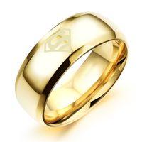 whosale klingelt großhandel-Mens Ring Titan Edelstahl Ringe vertraglich Galvanik Superman Logo Design Studenten Persönlichkeit Für Whosale