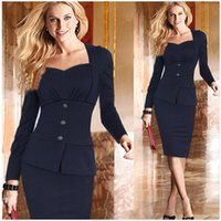Wholesale Red Mini Dress Womens - New 2016 Fall Winter Fashion Long Sleeves Womens OL Office Work Dresses Stretch Bodycon Work Cocktail Lady Slim Pencil Party Mini Dr ZJ1183