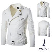 Wholesale Pu Leather Jackets Men White - 2015 New Fashion Men's motorcycle Style white zipper PU leather jacket Men Casual Slim PU leather coat M-2XL