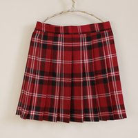 Wholesale High Waisted Skirts Girls - The new campus style high-waisted A-line skirt sweet plaid pleated skirt school uniform skirt for girls