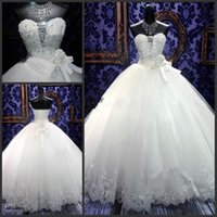 Wholesale Elegant Strapless Wedding Dress Hot - Hot Sell Princess Wedding Dresses 2015 Spring Elegant Ball Gowns Bling Beaded Crystal Sweetheart Neck Lace Up Puffy Quinceanera Tulle Dress