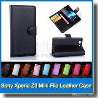 xperia z3 flip cover achat en gros de-Pour Sony Xperia Z3 Z3 Mini Litchi Portefeuille En Cuir Flip Cover Housse Avec Carte de Crédit Fentes Support à Support Z3 Mini