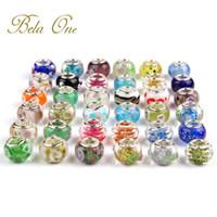 Wholesale Multi Color Bead Bracelet - 10 PCS DIY Multi Color 925 Sterling Silver European GLASS BEAD fit Pandora Bracelet & Necklaces Chain Gift PL4040