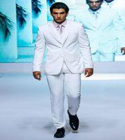 Wholesale Trajes Formal - Wholesale-Jacket+Pants+vest Wedding Tuxedo For Men Groom Suits Single Breasted Groomsmen White Tuxedo Trajes De Novio Formal Business Suit