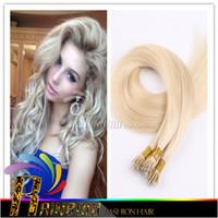 Wholesale Indian Remy Hair Bulk Blonde - Bulk Stock 18'' 20'' 22'' black brown blonde Nano Rings 100s lot 1g s Indian 100% Human remy Hair Extensions