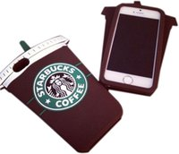 Wholesale Iphone4 Silicone Cover - 3D Fashion Coffe Cup Simulation Soft Gel Rubber Silicone Case Cover For iPhone4 4S 5 5S 6 6S 6Plus Free Shipping