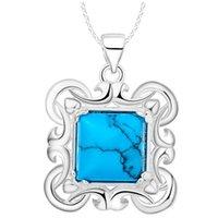charme quadratische muster großhandel-925 Silber überzogene Halskette Halskette neuer Handel Muster Quadrat Türkis Anhänger Schmuck
