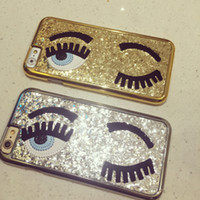 Wholesale Iphone Blink - 2015 3D New Fashion Miss Gossip Chiara Ferragni Sequins Following Blinking Eyes Case for iPhone5 5S iPhone 6 Plus i6 Free Shipping
