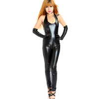 Wholesale Leather Stage Clothes - Novelty Sexy Stage Performance Apparels Patent Leather Looklike Dancing Clothing Leotard Suit Teddies and Gloves Women Dress