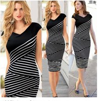 Wholesale Knee Length Cocktail Dresses Women - Women Elegant Slim Sexy Bodycon Dress Cocktail Party Bohemian Casual Dresses Retro Geometric white and black strip Lady's Dress S-XL S04