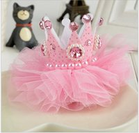 Wholesale Baby Crown Lace - 2016 New Arrival Children Three-dimensional Crown Hairpins Hair Accessories Baby Kids Lace Gauze Beaded Headdress Girl Chiffon Headband