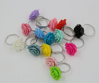Wholesale Adjustable Acrylic Rings - Hot sell ! 50Pcs Multicolor Retro Resin Rose Flower Adjustable Rings