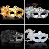Wholesale Sequin Masks - Luxury Party Masks Sexy eyeline Gemstone Venetian Masquerade Mask Feather Flower Aside Sequin Lace Prom Mask black white gold silver