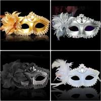 Wholesale Wholesale Luxury Prom - Luxury Party Masks Sexy eyeline Gemstone Venetian Masquerade Mask Feather Flower Aside Sequin Lace Prom Mask black white gold silver