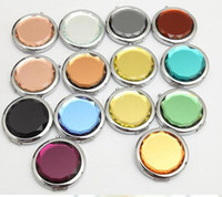 Wholesale Compact Mirrors Engrave - 10PCS Engraved Cosmetic Compact Mirror Crystal Magnifying Make Up Mirror Wedding Gift for Guests DROP SHIPPING #sl1141