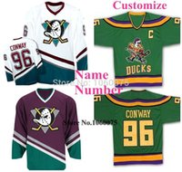 Wholesale Game Worn Jersey - Beauty Green 96 Charlie Conway Jersey Mighty Ducks Movie Jersey Game Worn 1993-94 Away Hockey Custom Any Name Number S-4XL
