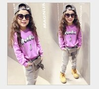 Wholesale Children Vest Fashion - 2016 Spring Fashion Girls Letters Printed Casual Sets Kids Long Sleeve Sweater+Pants 2pcs Kids Clothing Baby Girl Outfits Child Sportwear