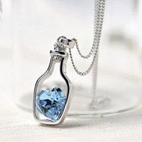 Wholesale 9k Pendant - 10pcs Women's 9K White Gold Filled CZ & Heart Shape Crystal Necklace & Pendant