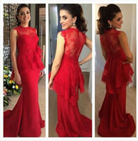 Wholesale Red Lace Peplum Top - Abendkleider 2016 Red Long Mermaid Evening Dresses Lace Top with Peplum Illusion Back Vestidos Largos Para Bodas