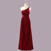 Wholesale Marine Dresses - Hot ! Free Shipping New 2015 Evening Dresses Black Marine Claret Buttercup One Shoulder Floor Length Chiffon Bridesmaid Dress Prom Dresses