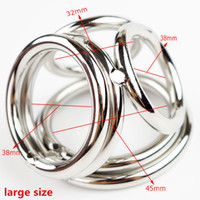 Wholesale Stainless Cockrings - Wholesale Men Stainless Steel Dick Ring Penis Delay Ejaculation 4 Holes Cockrings Lock Dildo And Scrotum Adult Male Cocks Sex Toys A26