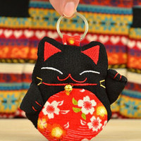 Wholesale Wholesale Purse Decorations - 11 Colors Mascot Lucky Cat Decoration Embroidery keychain keys wallet Purse change pocket holder free shipping